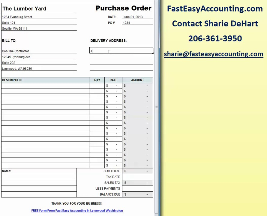 Free Construction Purchase Order Template Excel Video - free purchase order template