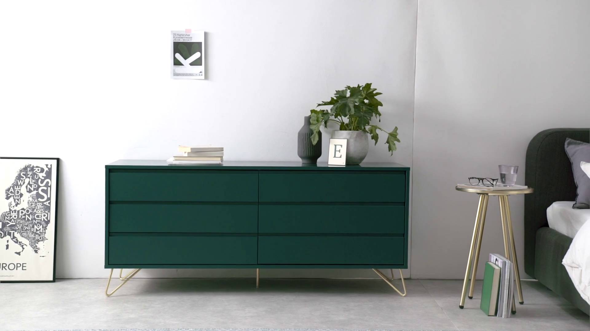 Wohnen Lansdowne Kommode Walnuss Und Fischreihergrau Made Elona Chest Of Drawers Wide