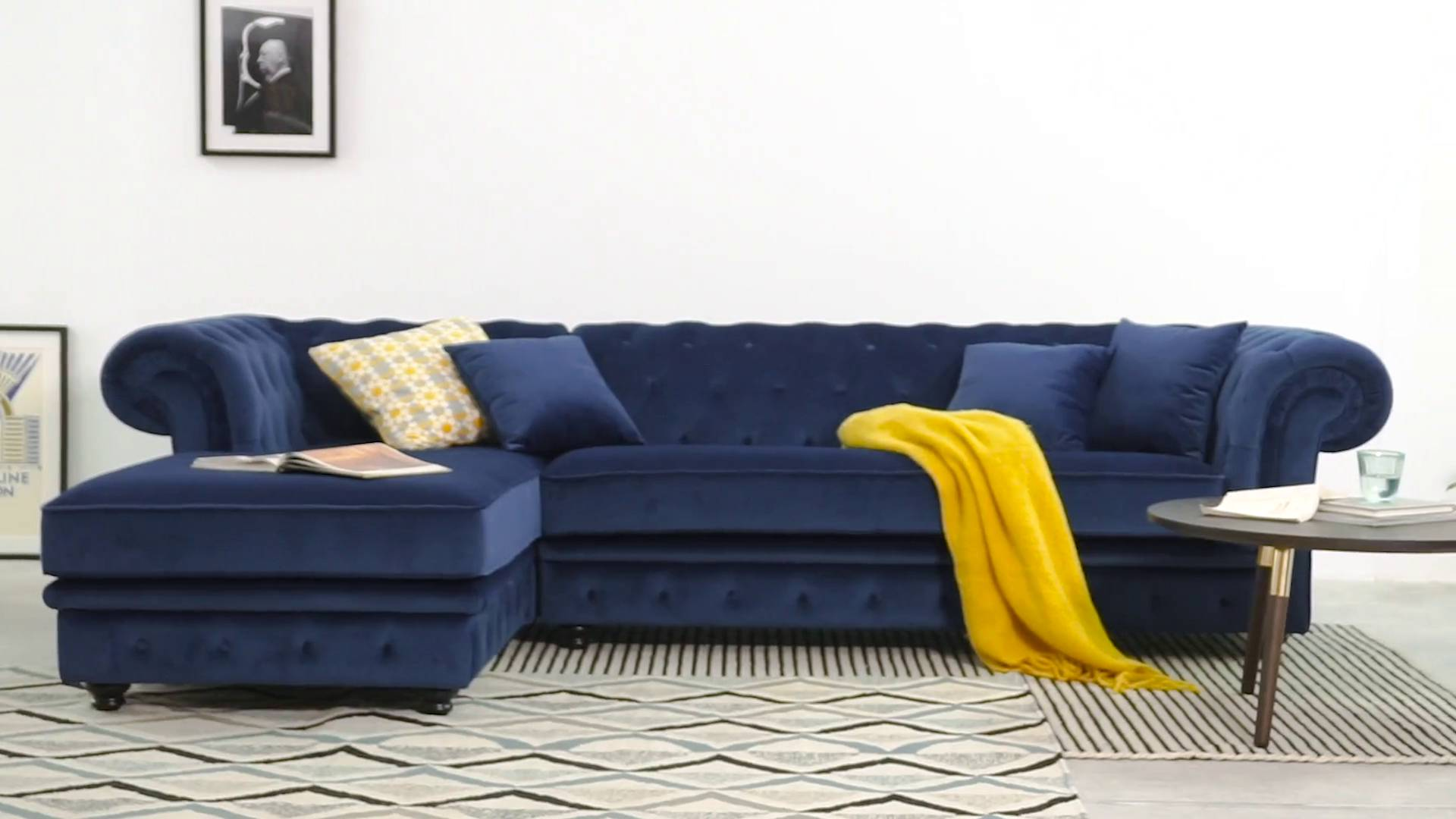 Canape Avec Meridienne 2 Places Branagh Chaise Electric Blue Velvet