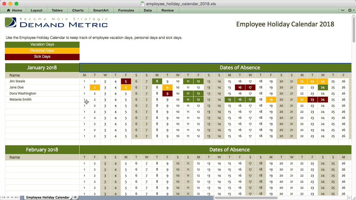 Employee Holiday Calendar 2018 Demand Metric - vacation tracker app