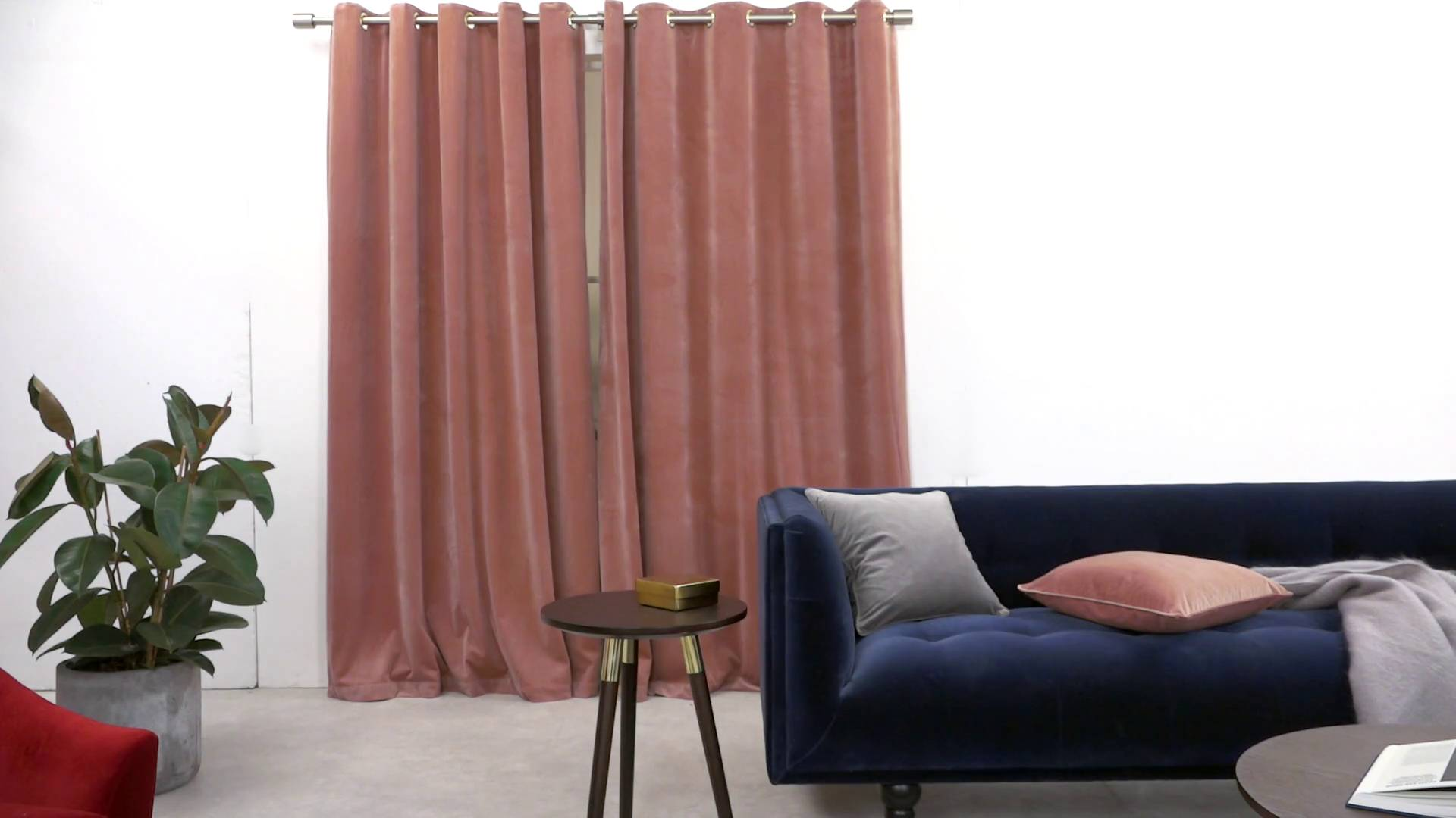 Gordijnen Fluweel Julius Curtain Pink