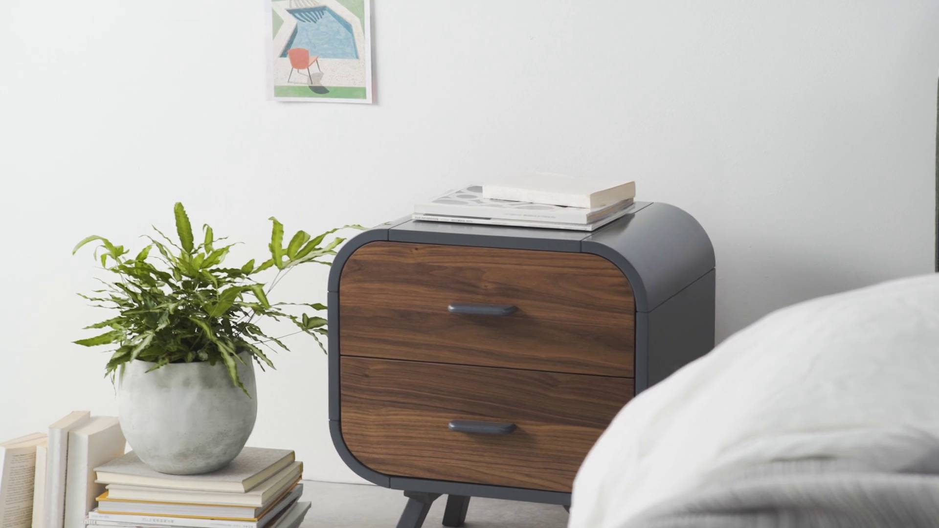 Wohnen Lansdowne Kommode Walnuss Und Fischreihergrau Made Fonteyn Walnut And Grey Bedside Table