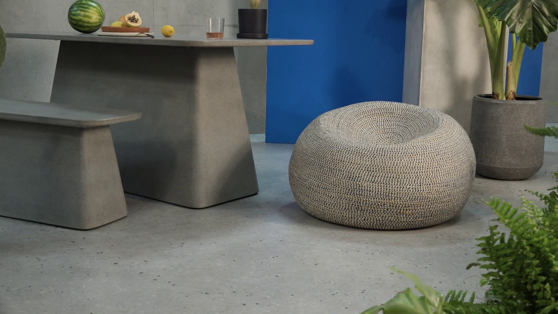Pouf Exterieur Made Pryia Outdoor Cocoon Bean Seat Multi Prussian Blue And Mustard Yellow
