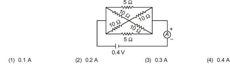 Calculate the current shown by the ammeter A in the circuit diagram