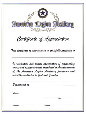 Auxiliary Certificate of Appreciation - American Legion Flag  Emblem - certificate of appreciation