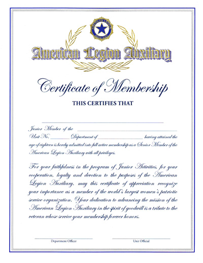 Auxiliary Junior Member Graduation Certificate-American Legion Flag