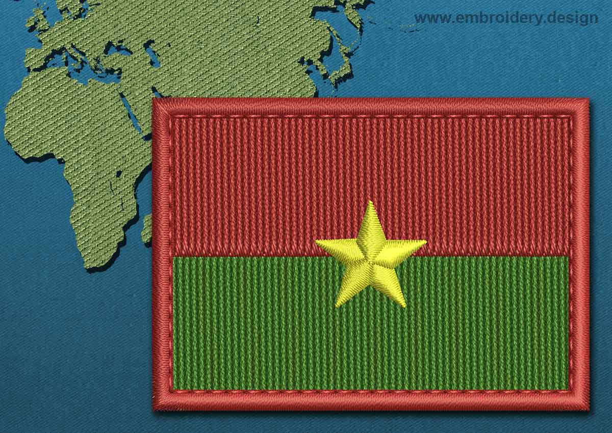 Burkina Home Decor Burkina Faso Rectangle Flag Embroidery Design With A