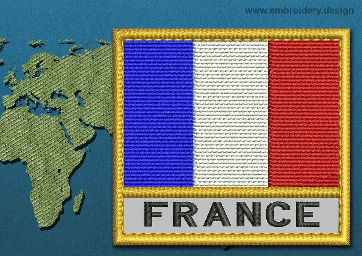 Design France France Text Flag Embroidery Design With A Gold Border