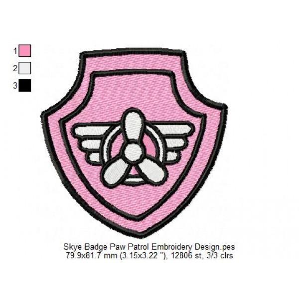 Skye Badge Paw Patrol Embroidery Design