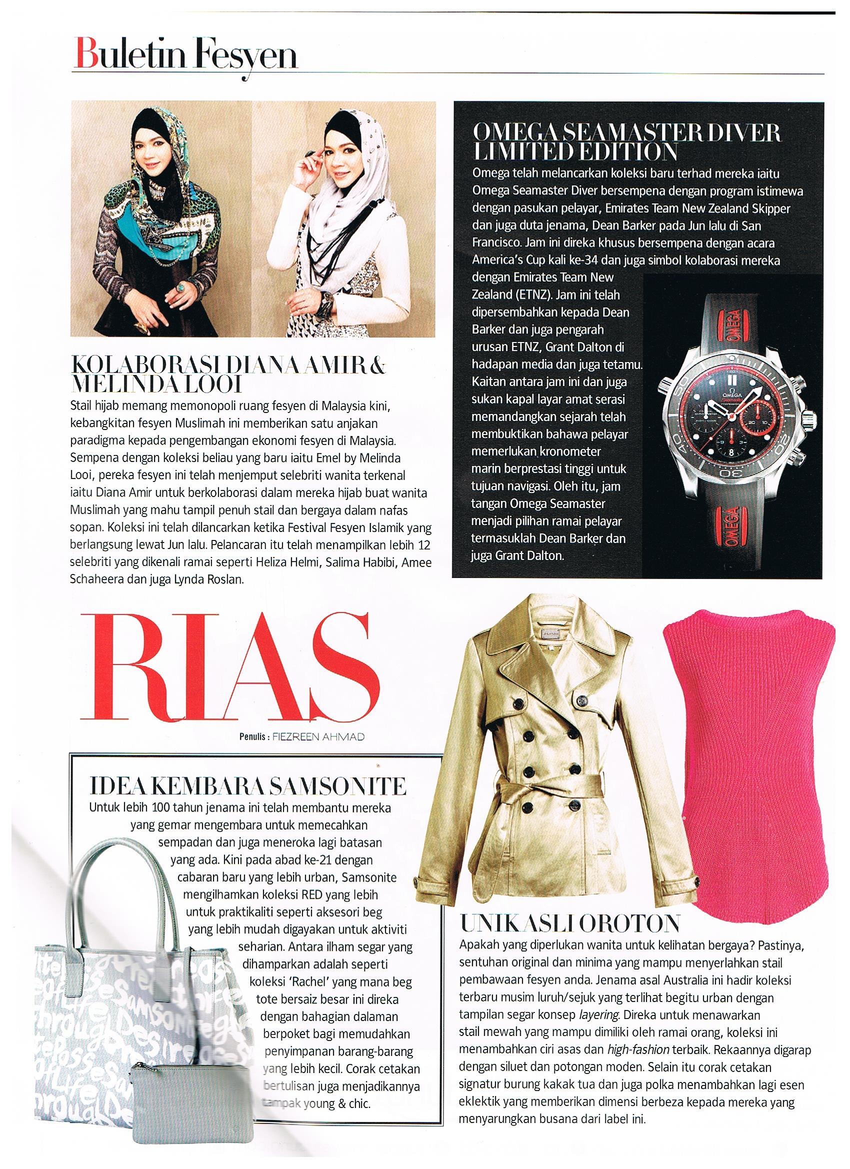 diana amir nona magazine september 2013 baju raya baju kurung modern