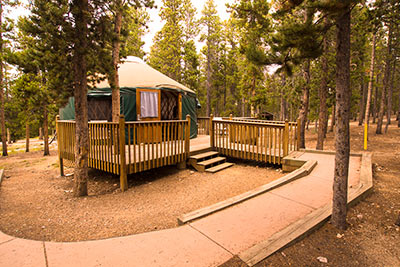 Bobcat yurt at Reverend's Ridge Campground