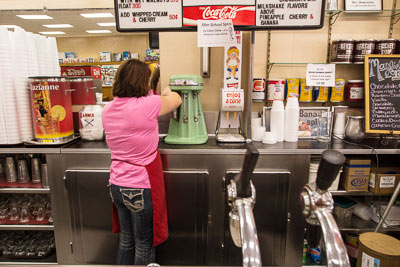 ilkshake in the making at Hoskins Drug Store in Clinton, Tennessee