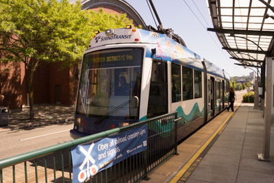 Photo of The free Link light rail serves downtown Tacoma