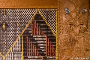 Detail of Maori carving in the Museum of Wellington City
