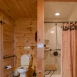 Toilet and Shower in restroom at Eagles View Cabin
