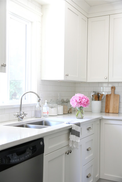 Kitchen With White Cabinets And Quartz Counter Tops I'm Dreaming Of A White Kitchen {open Shelving Too}