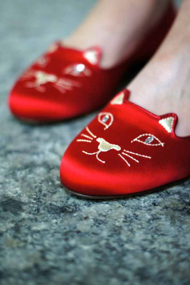 Charlotte Olympia Red Kitty Flats