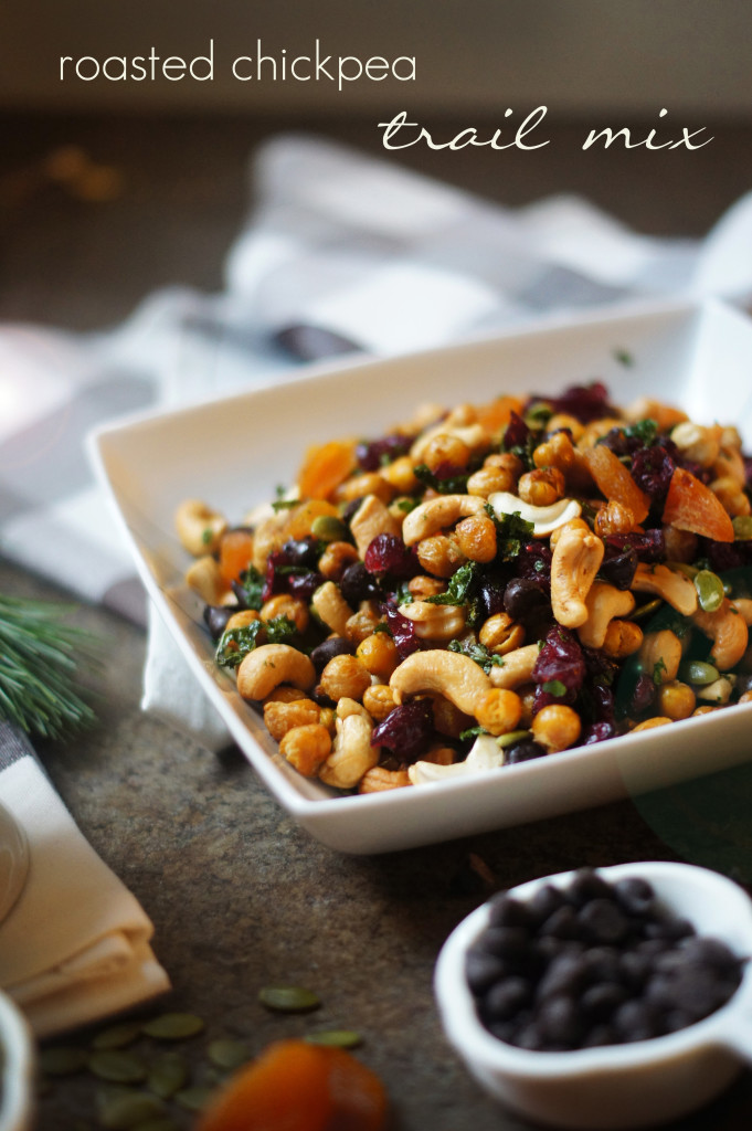 A homemade trail mix recipe that has roasted chickpeas and kale chips