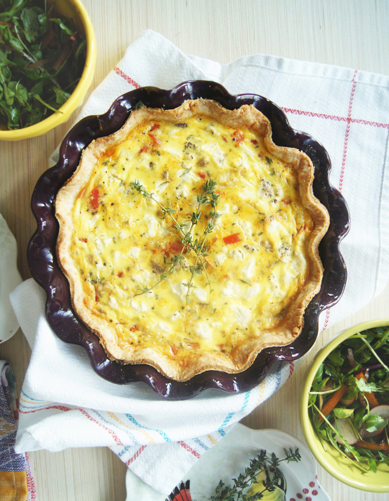 Delicious homemade quiche recipe with thyme and herbed goat cheese