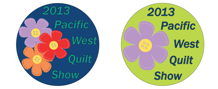 Concepts created for the show pin for the 2013 APWQ Pacific West Quilt Show.