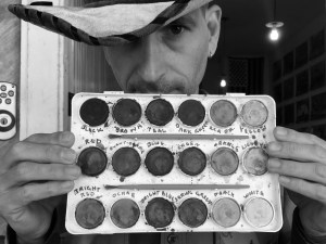 "Brian Brooks and his labeled watercolor tray. ""Color Blind"" is a misleading term: the vast majority of people see a limited range of color rather than an absence."