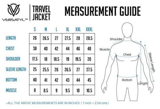 Versaty Travel Jacket Size