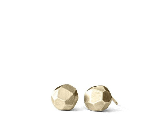 14k gold pebble earrings