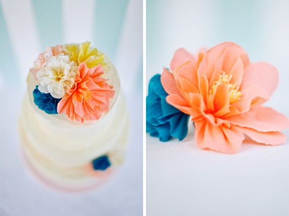crepe paper wedding cake flowers