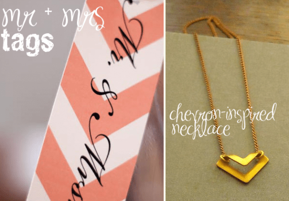 chevron mr. + mrs. tags and necklace