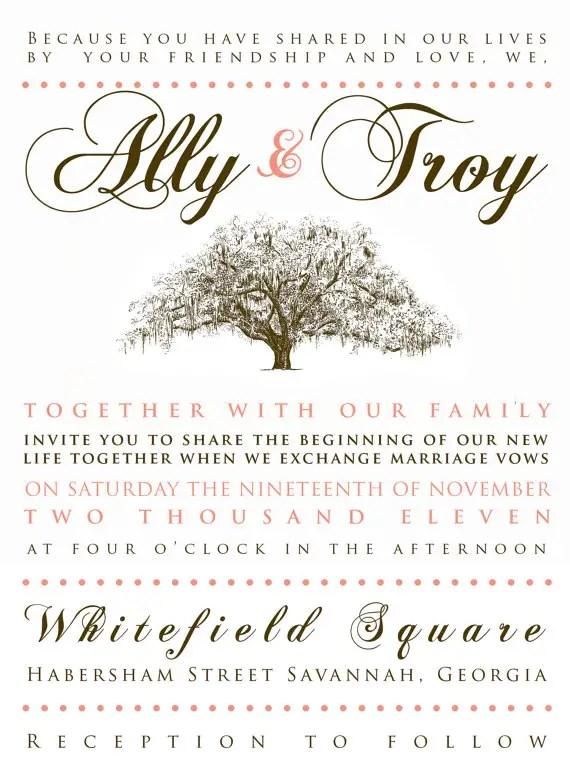 live oak wedding invitation live oak wedding invitation
