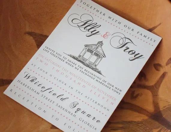gazebo wedding invitation