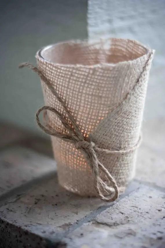 burlap candle holder