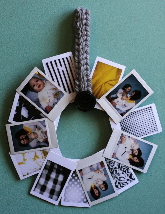 polaroid wedding ideas - polaroid photo wreath