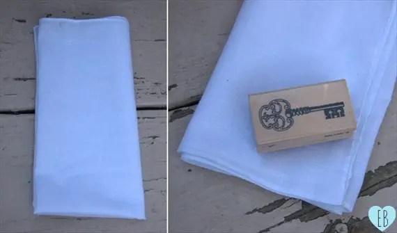 hand-stamped handkerchief