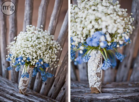 baby's breath bouquet wrapped in lace