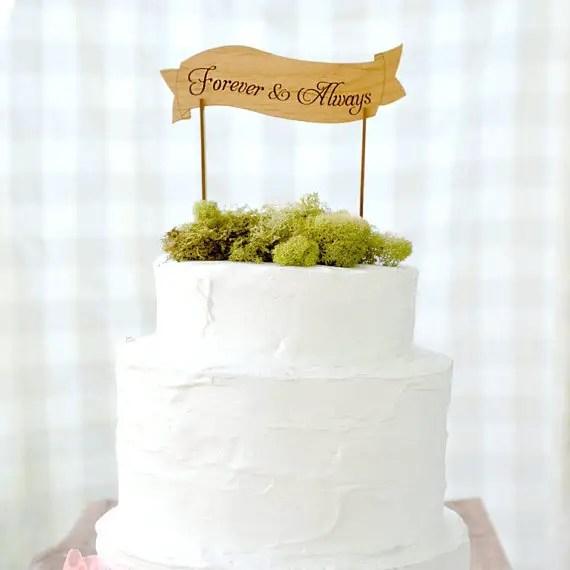 handmade wedding - forever and always cake topper