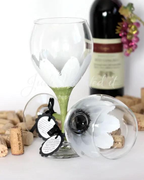 daisy wine glasses