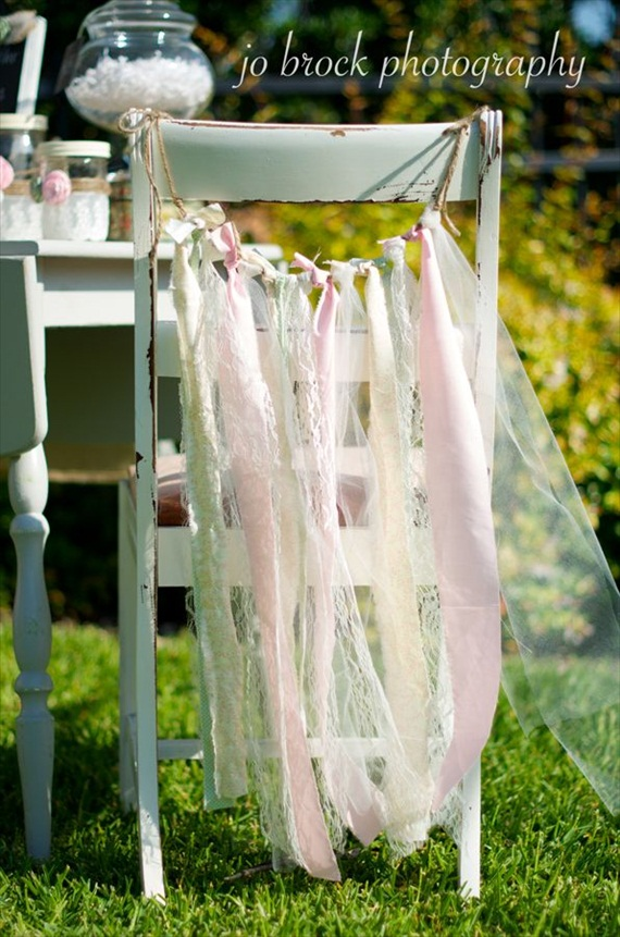 shabby chic wedding - chair ribbons