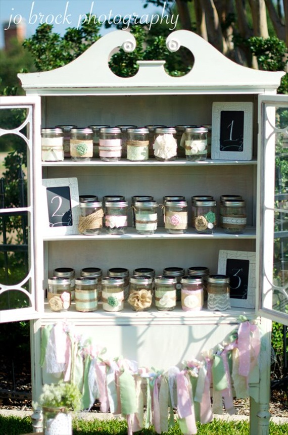 shabby chic escort card display (jars)