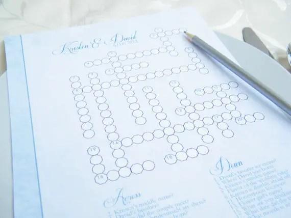 handmade wedding crossword puzzle