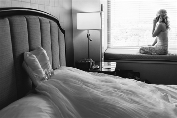 bride's dress on bed