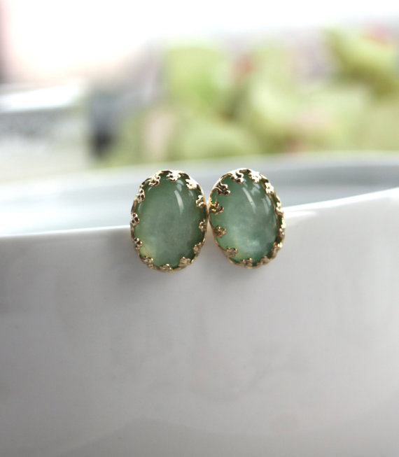 mint green handmade wedding earrings
