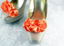 ruffle shoe clips tangerine color