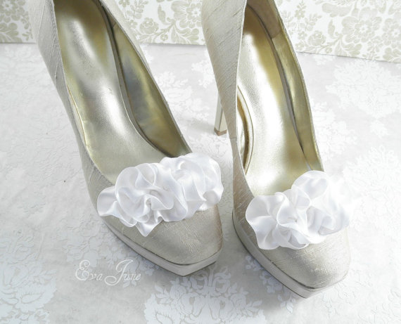 ruffle shoe clips in white