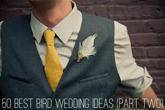 bird wedding boutonniere