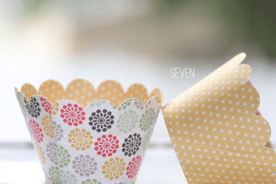 reversible floral and polka dot cupcake wrappers
