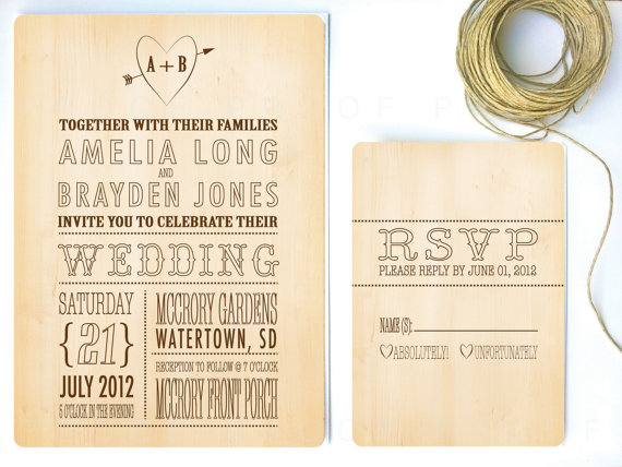 rustic wedding invitation with woodsy theme