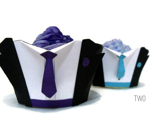 tuxedo wedding cupcake wrappers