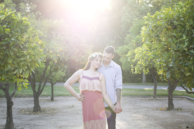 sun shines on couple at their Santa Fe Springs engagement session