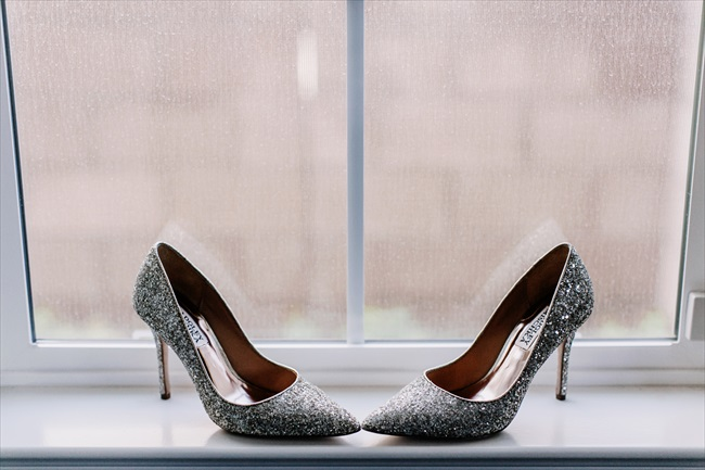 Real Wedding - Gold and Black Wedding | via emmalinebride.com | metallic heels